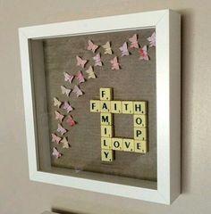 Faith love hope family...scrabble art frame...