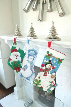 Santa Bucilla Felt Christmas Stockings, Unique felt stocking, Completed bucilla stocking by ModernClassicDesigns on Etsy https://www.etsy.com/listing/159420343/santa-bucilla-felt-christmas-stockings