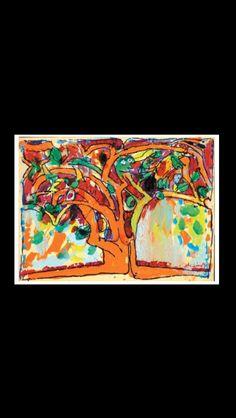 "Pierre Alechinsky - "" Le Baron Perché "", 1973 - Acrylic on paper laid down on canvas - 115,7 x 155 cm (*)"