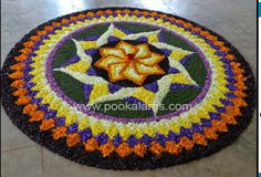 Onam Pookalam Design, Rangoli Designs Latest, Rangoli Colours, Indian Festivals, Colors, Flowers, Home Decor, Decoration Home, Room Decor