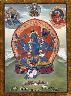 Black Tara is a wrathful manifestation, identical in form and, no doubt, source, to Hindu Kali and is associated with power. Like many Tibetan deities in the wrathful aspect, She has the fangs of a tiger, symbolizing ferocity, a ferocious appetite to devour the demons of the mind. Her aura or halo is fiery, energetic, full of smoke symbolizing the transformation of fire. The Black Tara has been compared to the perfect guardian of the void, the Divine Mother of compassion and a firm Goddess…
