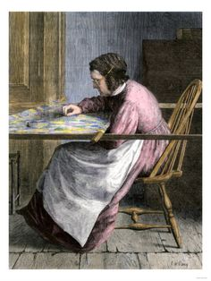 Woman Stitching a Patchwork Quilt, 1800s