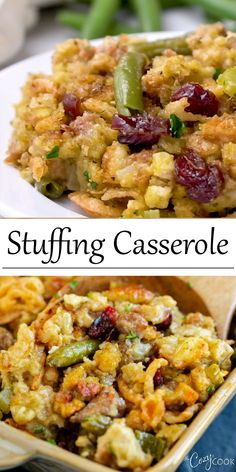 This Stuffing Casserole with sausage and green beans is an easy Thanksgiving sid. This Stuffing Casserole with sausage and green beans is an easy Thanksgiving side dish idea. Stuffing Recipes For Thanksgiving, Thanksgiving Appetizers, Thanksgiving Side Dishes, Easter Stuffing Recipe, Thanksgiving Casserole, Thanksgiving Turkey, Side Dish Recipes, Easy Dinner Recipes, Appetizer Recipes