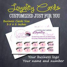 Customer #LoyaltyCards Eyelash Extensions by #M2MPartyDesigns