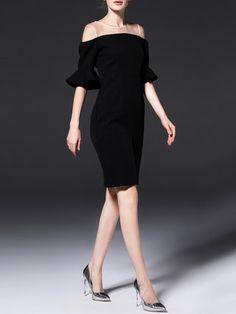 Black Elegant Plain Slit Ruffled Evening Dress