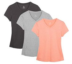 icyzone Workout Shirts Yoga Tops Activewear V-Neck T-Shirts For Women Running Fitness Sports Short Sleeve Tees (M, Black/Granite/Peach) Perfect tshirts for yoga, exercise, fitness, gym, any type of workout, or everyday use. icyZone tees for women combine fashion, function and performance Click Here For More Information  http://absextremenow.com/icyzone-workout-shirts-yoga-tops-activewear-v-neck-t-shirts-for-women-running-fitness-sports-short-sleeve-tees-m-black-granite-peac