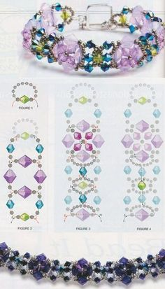 Scheme weave bracelet by wanting Beaded Bracelet Patterns, Woven Bracelets, Beading Patterns, Bracelet Crafts, Jewelry Crafts, Handmade Jewelry, Flower Bracelet, Bead Jewellery, Seed Bead Jewelry