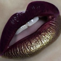 Ruby and Metallic Gold lips