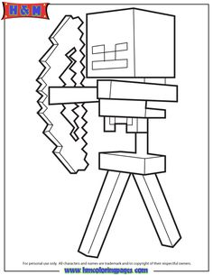 Skeleton And Arrow From Minecraft Game Coloring Page