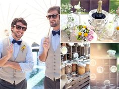 groomsmen attire, little bottles, jars in cubbies.