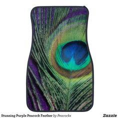 Stunning Purple Peacock Feather Car Mat