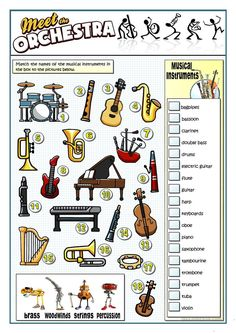 A collection of English ESL worksheets for home learning, online practice, distance learning and English classes to teach about musical, instruments, musical. Music Lessons For Kids, Music Lesson Plans, Music For Kids, Music Education Lessons, Primary Lessons, Music Worksheets, Printable Worksheets, Preschool Worksheets, Music Activities