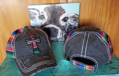 SERAPE CROSS Cap IN STOCK NOW!! hat Cowgirl Western Gypsy Southwest Charcoal Distressed #serape # cowgirlstyle # southwesternstyle