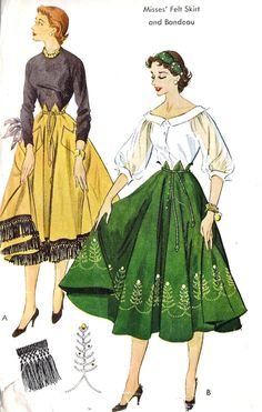 "1950's Misses Felt Skirt and Bandeau with Transfer for Embroidery Vintage Sewing Pattern McCall's 1807 waist 24"" to 28"". $14.00, via Etsy.    Well, basically, a 50's paperbag circle skirt."