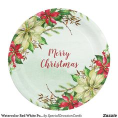 Shop Watercolor Red White Poinsettia Floral Christmas Paper Plate created by SpecialOccasionCards. Christmas Paper Plates, Special Text, Watercolor Red, Party Tableware, Modern Calligraphy, Paper Napkins, Poinsettia, Biodegradable Products, Christmas Holidays