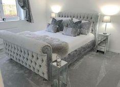 Lyon Chesterfield - The Luxury Bed Company Cute Bedroom Ideas, Room Ideas Bedroom, Home Decor Bedroom, Grey Home Decor, Kids Bedroom, Master Bedroom, Silver And Grey Bedroom, Silver Bedroom Decor, Velvet Bedroom