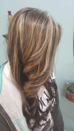 My Daughter's new hair color! Blonde Highlights with Brown and  Violet brown low lights.