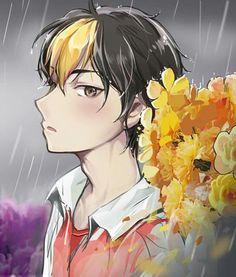 That shade of yellow looks so pretty and gorgeous under the rain. Haikyuu Nishinoya, Haikyuu Fanart, Kageyama, Haikyuu Anime, Anime Guys, Manga Anime, Anime Art, Haikyuu Characters, Anime Characters