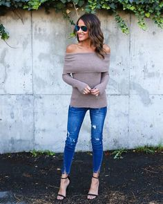 Skys The Limit Off The Shoulder Sweater - Taupe