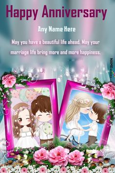 Happy Anniversary Double Photo Frame With Name Editor. This unique double photo frame is a perfect online digital gift for the lovely couple on their anniversary day. Write name on anniversary wishes and add photo in anniversary photo frames. Happy Anniversary Photos, Anniversary Wishes For Couple, Anniversary Greetings, Romantic Anniversary, Marriage Anniversary, Double Photo Frame, Romantic Surprise, Marriage Life, Happy Birthday Wishes