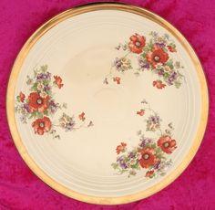 Fiesta Kitchen Kraft  Poppy Decal Decorated Old Ivory Chop Plate, Gold Rims  #HomerLaughlinKitchenKraftVeryRare