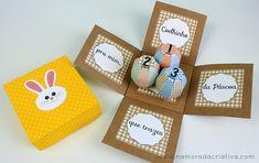 """Caixa inspirada na música: """"Coelhinho da Páscoa que trazes pra mim..."""" Uma opção para você que tem um namorado que não gosta de chocolate, já que dá para colocar o que quiser dentro das caixinhas em formato de ovo! Mais um DIY de Páscoa com arquivo gratuitos para vocês! É só baixar, imprimir e seguir o passo a passo!   Encontre os moldes abaixo: -Molde completo -Somente decoração da caixa (sem ovos de papel)   *** Se os links não abrirem acima, tente nos links abaixo, via Dropbox…"""