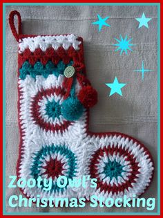 Crocheted Christmas stocking by Zooty Owl (free pattern) Crochet Christmas Stocking Pattern, Crochet Stocking, Crochet Christmas Decorations, Christmas Gifts To Make, Holiday Crochet, Halloween Crochet, Christmas Knitting, Handmade Christmas, Christmas Ideas