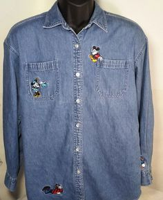 Disney Store Womens Size Large Mickey Mouse Denim Jean Shirt #Disney #ButtonDown #Casual
