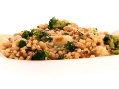 Fregola Salad with Broccoli and Cipollini Onions from FoodNetwork.com (minus the cheese and it is vegan)