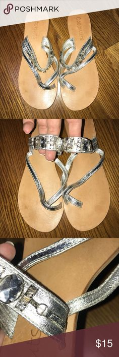 Coconuts Silver Bling Sandals Size 7 Coconuts silver sandals with jewels & rhinestones  Women's size 7 See photos for three missing stones Coconuts Shoes Sandals