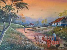 Pintura de un paisaje Costarricense.