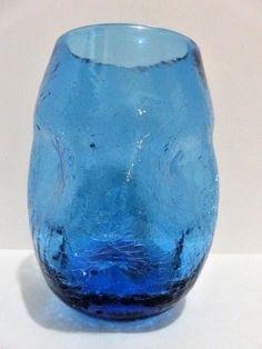 "Blenko Glass Blue Crackle Dimple Pinched Vase 5.5"" Tall Mid Century Art Glass  #Blenko #MidCenturyModern"