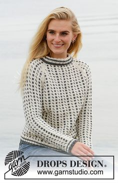 Reykjavik / DROPS - Free knitting patterns by DROPS Design Knitted jumper with raglan in DROPS Lima. The piece is worked top down with Nordic pattern. Sizes S - XXXL. Knitting Gauge, Knitting Charts, Knitting Patterns Free, Free Knitting, Crochet Patterns, Drops Design, Nordic Pattern, Jumpers For Women, Sweaters For Women