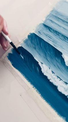 Canvas Painting Tutorials, Diy Canvas Art, Painting Techniques, Art Drawings Sketches Simple, Art Abstrait, Watercolor Art, Abstract Ocean Painting, Ocean Paintings, Painting Art