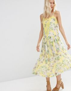Image 1 ofASOS Premium Pretty Floral Midi Cami Dress with Lace Insert