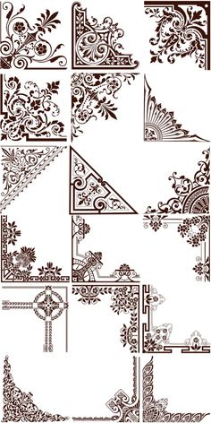 Set of vector natural floral ornate corners for decorating your postcards, brochures, invitations and other Arabesque, Stencils, Decoupage, Jugendstil Design, Modelos 3d, Free Graphics, Graphics Vintage, Vintage Logos, Retro Logos