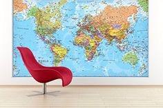 Retro world map premium canvas art print 40x30 inch large wall giant world megamap large wall map huge paper decor front sheet lamination new gumiabroncs Gallery