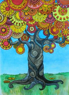 Watercolor tree of symmetrical orb leaves by Mary Clare