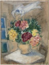 Marc Chagall~Angel Over a Table with Flowers