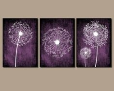 For the guest room above the bed-DANDELION Wall Art Purple Bedroom Canvas or Prints Bathroom Wall Art Bedroom Pictures Flower Wall Art Dandelion Set of 3 Wall Art Home Decor Purple Bedroom Walls, Plum Bedroom, Blue Bedroom Decor, White Bathroom Decor, Bathroom Wall Art, White Bedroom, Bedroom Ideas, Bedroom Colors, Diy Bedroom