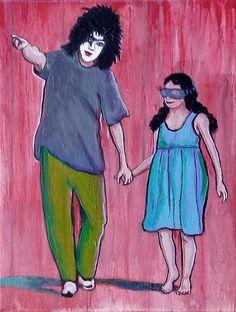 """#redFebruary"" © GN 2017; 12 x 9 in; acrylic, pencils, ink & oil on canvas.  #PaulStanley #Kiss #virtualrealityglasses #redrain #painting #art #contemporaryart #arte #pintura #GabrielNavar http://gabrielnavar.com"