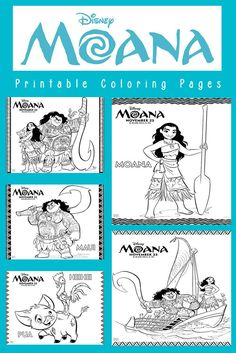 Disney Moana coloring pages that feature the characters Moana, Maui, Pua and Heihei for traveling to Hawaii Moana Coloring Pages, Colouring Pages, Coloring Books, Moana Birthday Party, Moana Party, Princess Birthday, 4th Birthday, Farm Animal Coloring Pages, Moana Theme