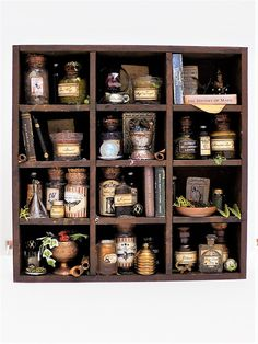 flew the coop: Mini Potions and Herbology Cabinet Wicca, Apothecary Cabinet, Apothecary Bathroom, Halloween Shadow Box, Harry Potter Miniatures, Witch Potion, Halloween Miniatures, Potion Bottle, Harry Potter Aesthetic
