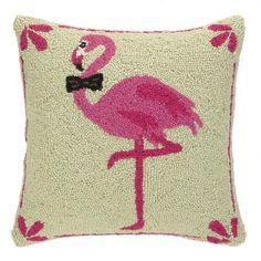 Peking Handicraft Pink Flamingo Bowtie 16x16 Hook Pillow