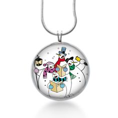 4 snowman singing with choir books and bells christmas necklace #Handmade #Pendant