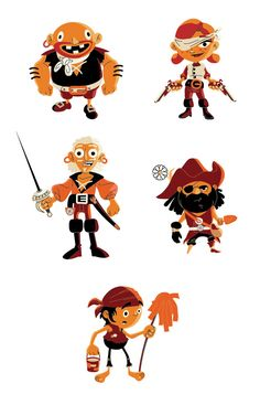 Character designs for pirateslovedaisies.com an html tower defence game for which Pulp Studios Inc. created illustrations, animations and UI designs. The project was for Microsoft in partnership with gskinner.com Simple Character, Character Poses, Character Costumes, Character Design References, Game Character, Character Concept, Pirate Kids, Pirate Games, Pirate Illustration
