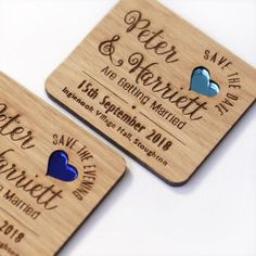 These beautiful wooden heart save the date magnets are perfect way to remind your guests your special date! Choose the heart colour to match your wedding theme.