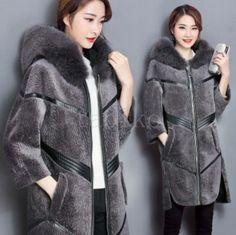 Womens Winter Warm Coat Mid- Long Luxury Hooded Parka Fur Collar Outwear Jackets