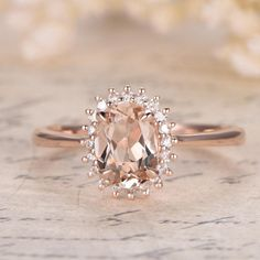 Your place to buy and sell all things handmade - VS Pink Morganite Ring Rose Gold Vintage Daisy Ring Promise Ring Floral Design Diana Ring Ova - Vintage Gold Engagement Rings, Gold Diamond Wedding Band, Rose Gold Engagement Ring, Oval Engagement, Diamond Rings, Vintage Promise Rings, Rose Gold Rings, Pink Wedding Rings, Solitaire Rings