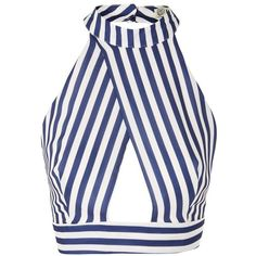 Stripe Cross Over Crop Top by Love ($37) ❤ liked on Polyvore featuring tops, navy blue, high neck crop top, high neckline crop top, striped top, navy blue crop top and white surplice top